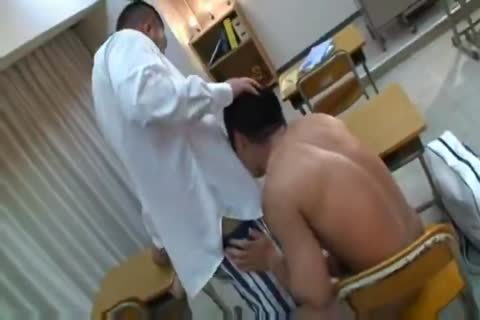 powerful asian Teacher And Muscle Student engulfing And pounding.
