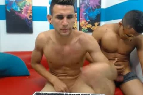 three Colombian nice-looking men pound On cam